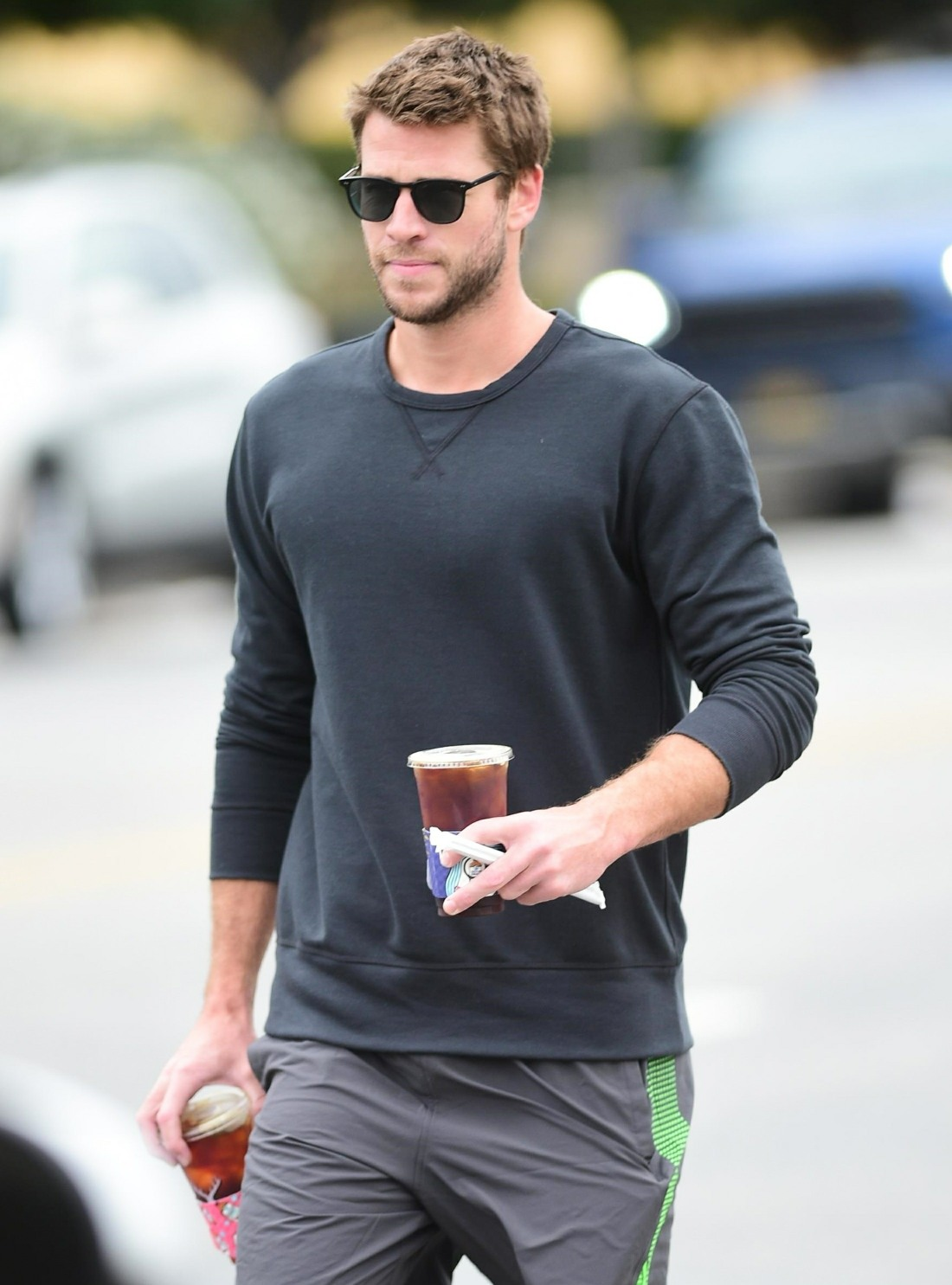 Liam Hemsworth stops by Alfred Coffee for his Monday caffeine fix