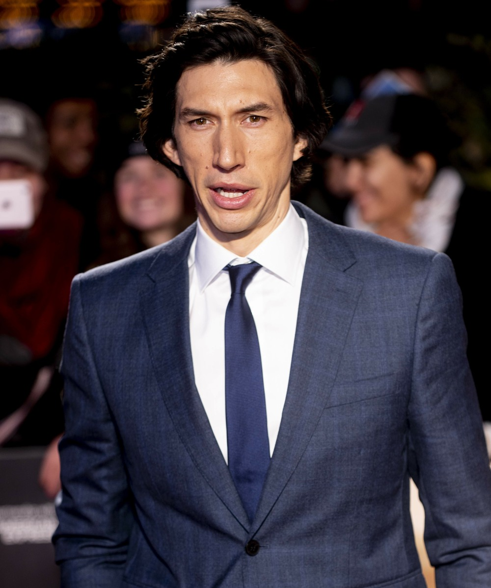 """Adam Driver at the UK premiere of """"Marriage Story""""  Leicester square in London, Britain, 6th October 2019. The 2019photo by Brian Jordan"""
