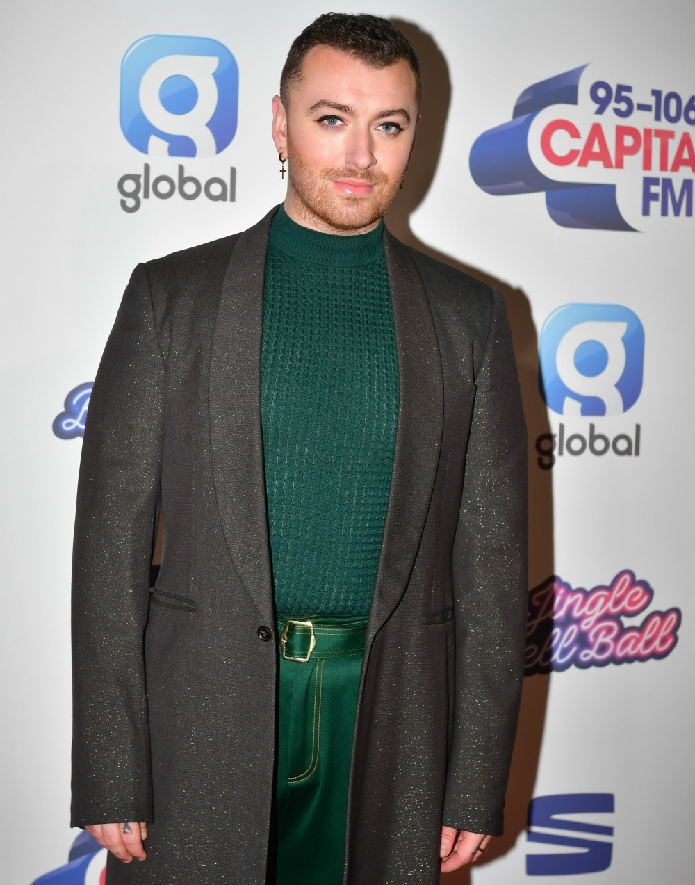 Sam Smith on the red carpet at the Capital FM Jingle Bell Ball, O2 Arena, London