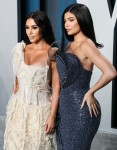 Kim Kardashian West and Kylie Jenner arrive at the 2020 Vanity Fair Oscar Party held at the Wallis A...